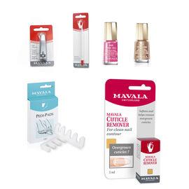 MAVALA--Summer Care Pack-Nail Polish remover Pads x 30, Nail Polish Treasure 117 and 285 Rose Hill, Nail Brush, Pink Foot Roller, Cuticle Remover 5ml