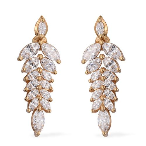 J Francis - 14K Gold Overlay Sterling Silver (Mrq) Earrings (with Push Back) Made with SWAROVSKI ZIRCONIA