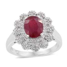 African Ruby (Ovl 4.00 Ct), Natural Cambodian Zircon Floral Ring in Platinum Overlay Sterling Silver 5.250 Ct.