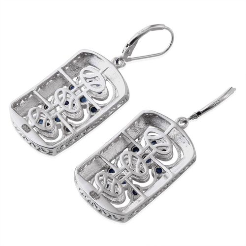 Kanchanaburi Blue Sapphire (Rnd) Lever Back Earrings in Platinum Overlay Sterling Silver 1.500 Ct.