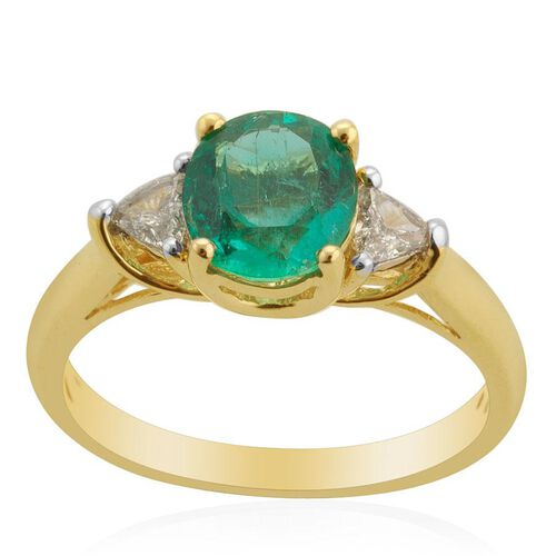 ILIANA 18K Y Gold Boyaca Colombian Emerald (Ovl 1.00 Ct) Diamond Ring  1.250 Ct.