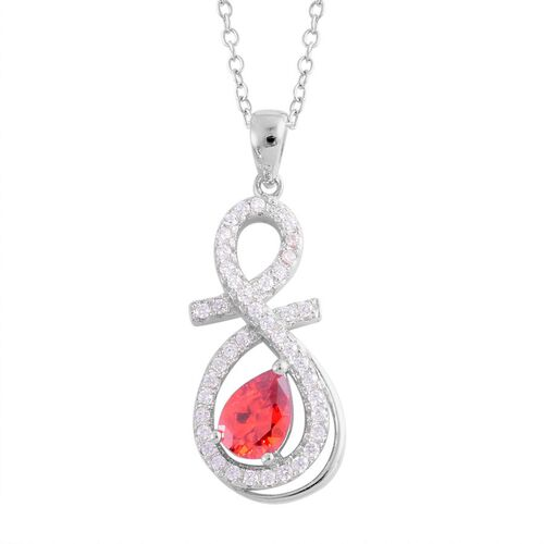 AAA Simulated Garnet (Pear), Simulated White Diamond Pendant With Chain in Rhodium Plated Sterling Silver