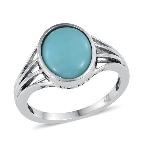Sonoran Turquoise (Ovl) Solitaire Ring in Platinum Overlay Sterling Silver 3.750 Ct.
