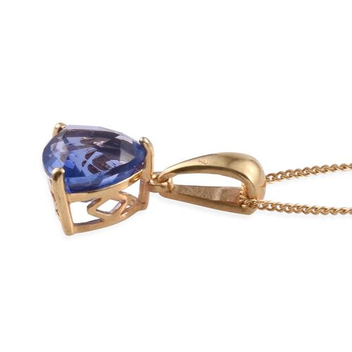 Colour Change Fluorite (Trl) Solitaire Pendant With Chain in 14K Gold Overlay Sterling Silver 2.000 Ct.