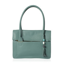 Limited Edition Genuine Leather RFID Blocker Green Colour Handbag (Size 32X25X8 Cm) with Tassel Charm