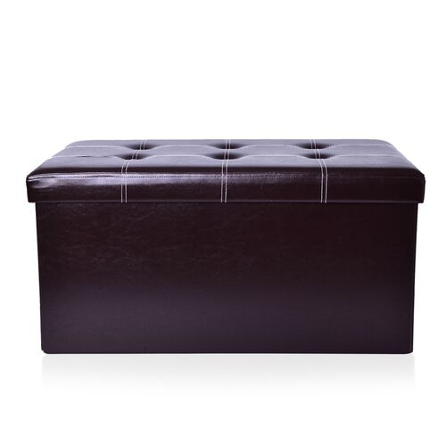 New Faux PU Leather Chocolate Colour Foldable Large Storage Box