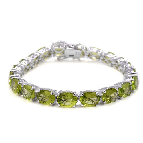 Hebei Peridot (Ovl) Bracelet in Rhodium Plated Sterling Silver (Size 7.5) 40.000 Ct.