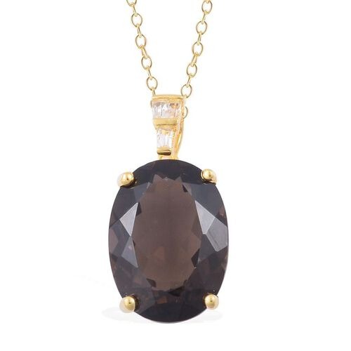 Brazilian Smoky Quartz (Ovl 11.25 Ct), White Topaz Pendant With Chain in Rhodium and Yellow Gold Overlay Sterling Silver 11.400 Ct.