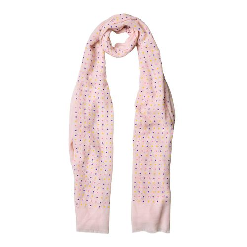 Yellow, Pink and Purple Colour Small Circular Pattern Pink Colour Scarf (Size 180x70 Cm)