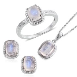 Natural Rainbow Moonstone (Cush) Ring, Pendant With Chain and Stud Earrings in Platinum Overlay Sterling Silver 7.000 Ct.