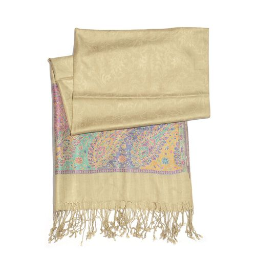 SILK MARK - 100% Superfine Silk Purple and Multi Colour Floral and Leaves Pattern Beige Colour Jacquard Jamawar Shawl with Fringes (Size 180x70 Cm) (Weight 125-140 Grams)