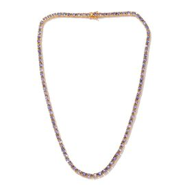 Tanzanite (Ovl) Necklace in 14K Gold Overlay Sterling Silver (Size 20) 25.250 Ct.