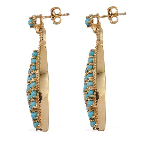 Arizona Sleeping Beauty Turquoise (Rnd) Earrings (with Push Back) in 14K Gold Overlay Sterling Silver 4.750 Ct.