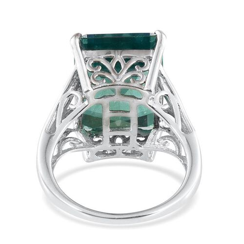 Peacock Quartz (Oct) Ring in Platinum Overlay Sterling Silver 13.000 Ct.