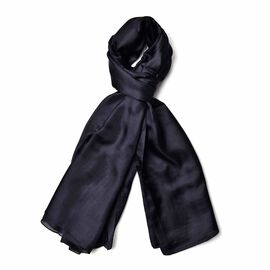 100% Mulberry Silk Black Colour Scarf (Size 180x110 Cm)