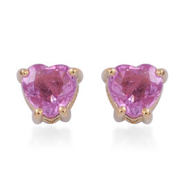 ILIANA 18K Yellow Gold 1 Carat Pink Sapphire Heart Solitaire Stud Earrings with Screw Back.