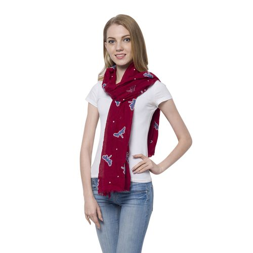 New For Season - Dragonfly Pattern Blue and Dark Red Colour Scarf (Size 180x70 Cm)