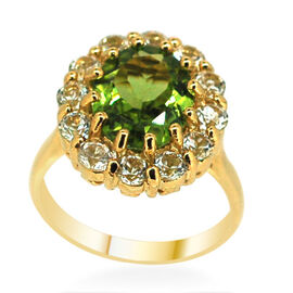 Hebei Peridot (Ovl 4.00 Ct), White Topaz Ring in 14K Gold Overlay Sterling Silver 5.800 Ct.