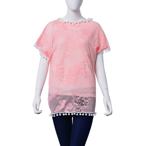 Floral and Butterfly Pattern Pink Colour Poncho with White Pompom