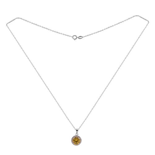Close Out Deal AAA Simulated Citrine (Rnd), Simulated White Diamond Pendant With Chain (Size 18) in Rhodium Plated Sterling Silver