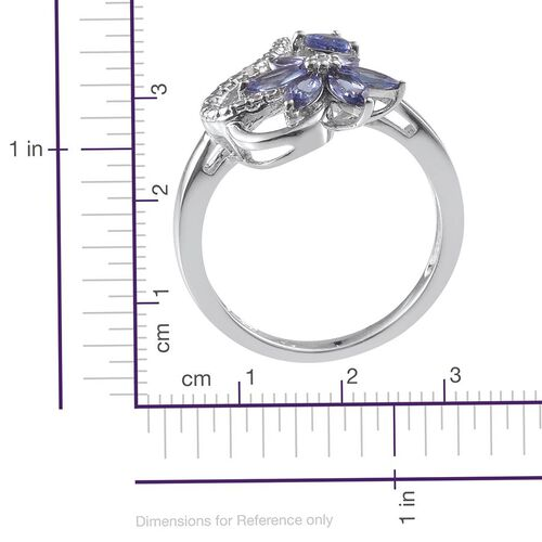 Tanzanite (Trl), Diamond Ring in Platinum Overlay Sterling Silver 1.120 Ct.