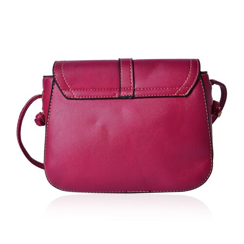 Fuchsia Colour Crossbody Bag with Shoulder Strap (Size 21.5x17x6.5 Cm)