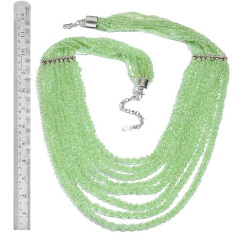 Light Green Colour Seed Beaded 8 Strand Necklace with Lobster Lock (Size 30 with Extender)