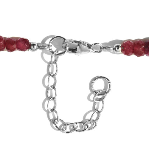 Limited Edition - Rare Ruby Beads Necklace (Size 18 with 2 inch Extender) in Rhodium Plated Sterling Silver 100.000 Ct.