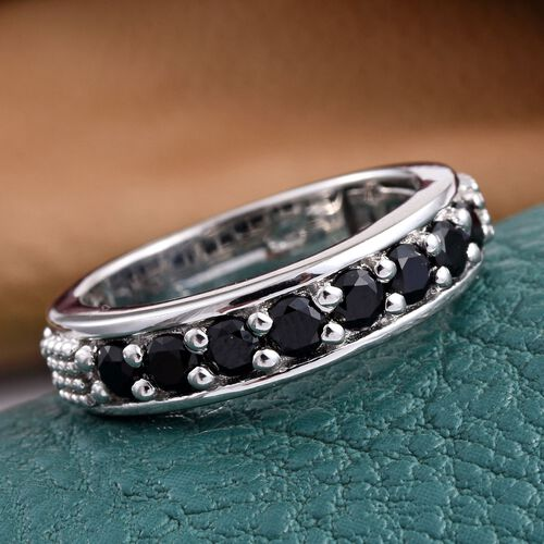 Boi Ploi Black Spinel Half Eternity Stacker Silver Ring in Platinum Overlay 2.000 Ct.