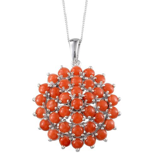 Mediterranean Coral (Rnd) Pendant With Chain in Platinum Overlay Sterling Silver 5.250 Ct.