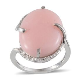 Peruvian Pink Opal (Ovl 12.00 Ct), Diamond Ring in Platinum Overlay Sterling Silver 12.050 Ct.