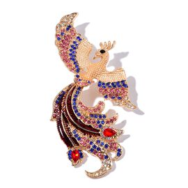 Designer Inspired AAA Multi Colour Austrian Crystal Peacock Brooch in Gold Tone