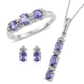 Tanzanite (Ovl), Diamond Ring, Pendant with Chain and Stud Earrings (with Push Back) in Platinum Overlay Sterling Silver 1.530 Ct.