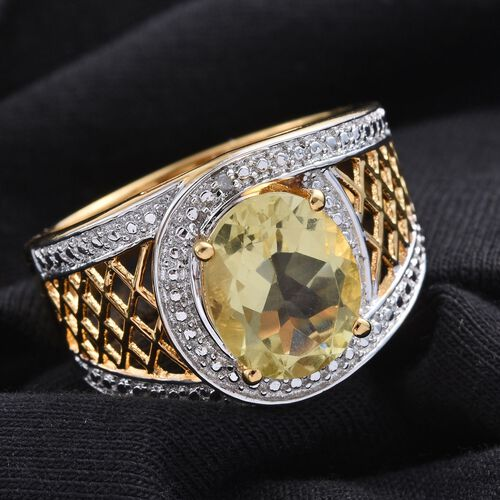 Natural Ouro Verde Quartz (Ovl 3.25 Ct), Diamond Ring in ION Plated 18K Yellow Gold Bond 3.260 Ct.