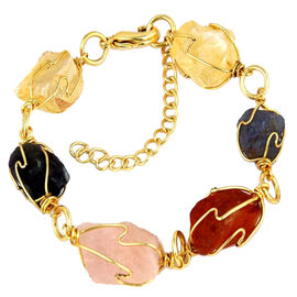 Multi GemStones Bracelet (Size 7 with 1 inch Extender) in Yellow Gold Bond 128.000 Ct.