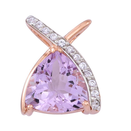 Rose De France Amethyst (Trl 4.75 Ct), Natural Cambodian Zircon Pendant in 14K Rose Gold Overlay Sterling Silver 5.000 Ct.
