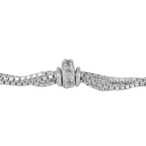 Close Out Deal Rhodium Plated Sterling Silver Bracelet (Size 7.5), Silver wt 3.56 Gms.