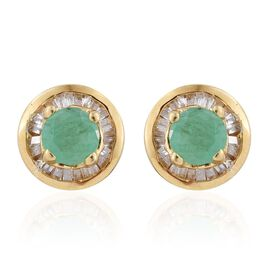 Brazilian Emerald (Rnd), Diamond Stud Earrings (with Push Back) in 14K Gold Overlay Sterling Silver 1.000 Ct. Diamond Wt 0.25 cts.