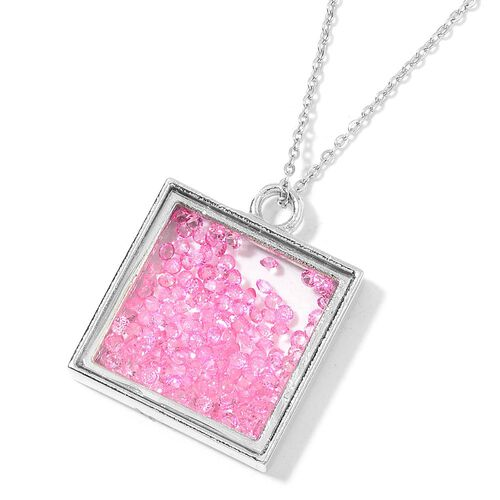 Simulated Pink Diamond Filled Square Shape Pendant With Chain (Size 24) in Silver Tone with Stainless Steel
