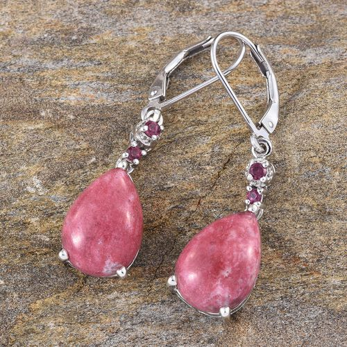 Norwegian Thulite (Pear), Rhodolite Garnet Lever Back Earrings in Platinum Overlay Sterling Silver 12.750 Ct.
