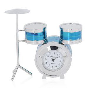 3D-STRADA Japanese Movement Blue Drum Set Style Table Clock