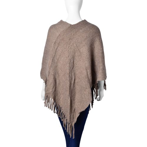 Khaki Colour Knitted Poncho with Fringes (Size 80X75 Cm)