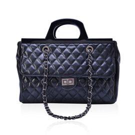 Black Colour Diamond Pattern Tote Bag ( Size 33x23x9.5 Cm)