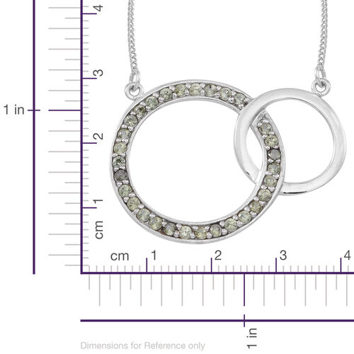 Green Sapphire (Rnd) Circle of Life Link Necklace (Size 18) in Rhodium Plated Sterling Silver 1.500 Ct.