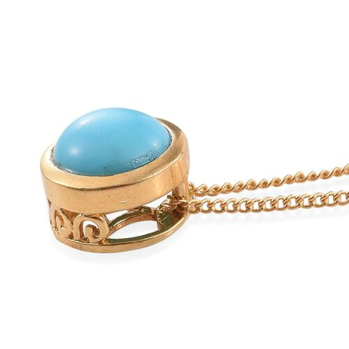 Arizona Sleeping Beauty Turquoise (Rnd) Solitaire Pendant with Chain in 14K Gold Overlay Sterling Silver 1.000 Ct.