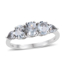 Espirito Santo Aquamarine (Ovl) Ring in Platinum Overlay Sterling Silver 1.000 Ct.