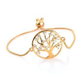 J Francis - 14K Gold Overlay Sterling Silver (Rnd) Family Tree of Life Adjustable Bracelet (Size 7.5) Made with SWAROVSKI ZIRCONIA