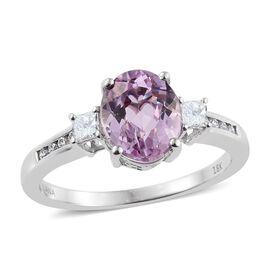 ILIANA 18K W Gold AAAA Brazilian Kunzite (Ovl 3.15 Ct), Diamond Ring 3.500 Ct.