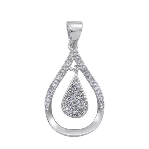 ELANZA AAA Simulated Diamond (Rnd) Drop Pendant in Rhodium Plated Sterling Silver