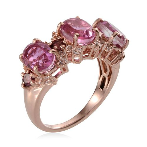 Kunzite Colour Quartz (Ovl), Rhodolite Garnet and White Topaz Ring in Rose Gold Overlay Sterling Silver 5.750 Ct.